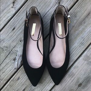 Louise et Cie Black Suede & Croc Pointed Toe Flats
